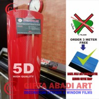 STIKER,STICKER CARBON FIBER 5D MERAH GLOSSY UNTUK MOBIL,MOTOR L-150 CM