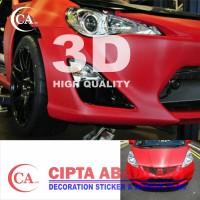 STIKER,STICKER CARBON MERAH 3D DOFT/MATT UNTUK MOBIL,MOTOR NEW L150CM