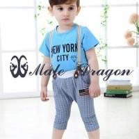 Baju Setelan Anak Male Dragon Suspender New York City Blue