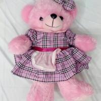 (Diskon) Boneka Teddy Bear Kemeja Dress Kotak Halus