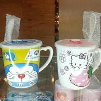 (Diskon) Gelas Keramik Hello Kitty / Doraemon Import
