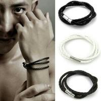 leather kalung tali gelang tangan pria tambang eksekutif import