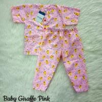 piyama anak katun catra motif baby giraffe pink