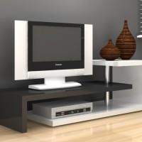 Anya-Living Scult TV Stand / Meja TV / Rak TV - Putih Glossy-Hitam