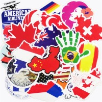 PROMO : Stiker Koper 27 Pcs: Logo Bendera Negara Map Design Rimowa