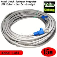(Sale) Kabel Lan 15 Meter UTP + RJ45 Straight - Tinggal Pakai