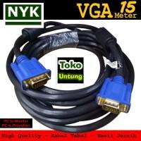 Kabel VGA to VGA 15 Meter Konektor Male to Male High Quality