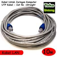 (Dijamin) Kabel Lan 10 Meter UTP + RJ45 Straight - Tinggal Pakai