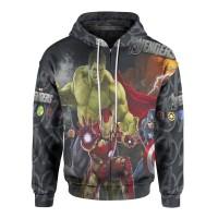 Jaket Hoodie Sweater Wanita Tema THE AVENGERS 3D Zipper - Art 1