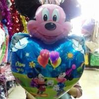 balon foil kepala mickey love biru/karakter/balon murah/heart/lucu