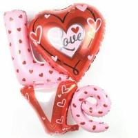 balon foil i love you dua susun/foil love/balon cinta/romantis/unik