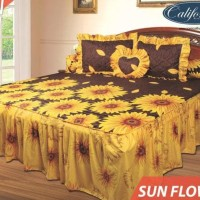 Termurah Sprei California Rumbai Bantal Busa Motif Sunflower 180X200