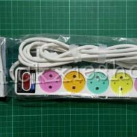 Terminal / Saklar / Stop Kontak Listrik 6 Lubang + Kabel 3 Meter