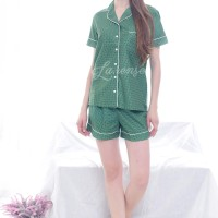 Piyama Katun Jepang halus Polkadot Hijau / baju Tidur Celana Pendek