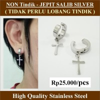 Anting NON Tindik  - Jepit Salib Silver