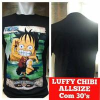 Kaos Anime One Piece Monkey D'Luffy Chibi Hitam