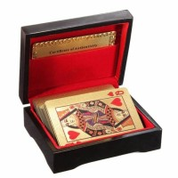 Kartu Remi Emas Gold Poker card with original wooden Box certified