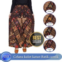 Celana kulot terbaru bahan katun motif batik full karet di pinggang