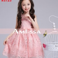 DRESS ANAK GLAMOUR PINK LACE  (RSBY-3723)