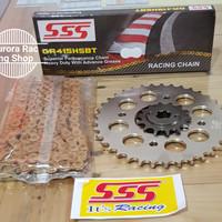 Gear Set SSS 415 Satria FU Lama / Barong / Face Lift & Rantai Hsbt