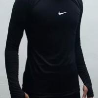 kaos dalam Nike lengan panjang dri fit base layer olahraga fitness