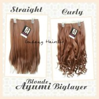 asli murah Hairclip Big Layer Ayumi Blonde ( Lurus / Curly )