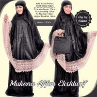 Mukena Warna Hitam Afifah Eksklusif Model renda Promo