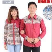 JC- Kemeja Pasangan Strech 012 Merah Kemeja Couple Baju Pasangan
