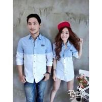 Jakarta Couple Kemeja Pasangan Riovi Salur / Couple Shirt Riovi Strip