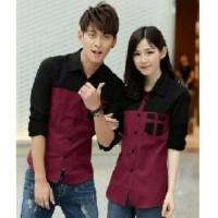 Jakarta Couple Kemeja Pasangan Avery Marun / Couple Shirt Avery Maroo
