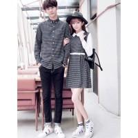 Jakarta Couple - kemeja pasangan dress kotak (free gesper)