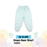 celana panjang anak warna hijau motif kepala beruang