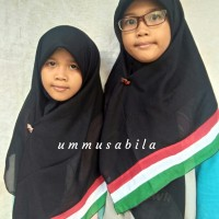 Jilbab Palestina Segiempat Double Hycone Palestin Anak Warna Hitam
