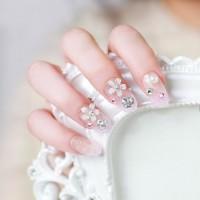 NA012 PINK - Kuku Palsu 3D/ Nail Art /Silver Fake Nails Wedding Bride
