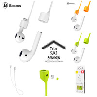 Baseus Magnetic Anti Lost Strap Rubber Silicone For Apple AirPods - Abu-abu