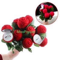 red rose jewelry ring box / kotak perhiasan cincin bunga mawar
