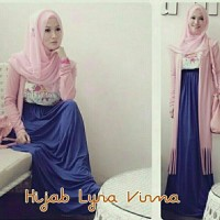 up A07 Hijab Lyra Virna 3in1 (Maxi Dress printing bunga pnjg 132cm+Car