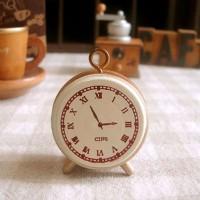 Cap Stempel Motif Jam/Mini Clock Wooden Rubber Stamp