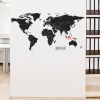 Wall Cutting Sticker World Map Peta Dunia Stiker Dinding Rumah Kantor - Hitam