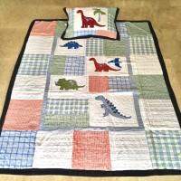 170x220 Bed Cover Set Anak Dinosaurus Shabby Chic Decor Quilt Perca