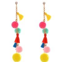 Anting Tusuk Bohemia Multi-color Tassel Decorated Pom Earrings E16035
