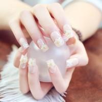 NA017 - Kuku Palsu 3D/ Nail Art / White Fake Nails Wedding For Bride M