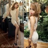 Cream Beige Mini Lace Dress Baju Wanita Kantor Pakaian Casual IMPORT