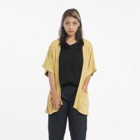 Kimono Outer Cardi Cardigan Wanita Panjang Lengan Pendek Kuning