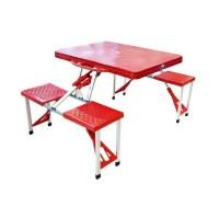 Meja kursi lipat piknik / mini cafe - merah