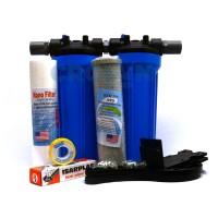 Paket EKO 2 BIRU - Saringan / Filter Air Siap Pakai 2 Housing - Pipa Setengah