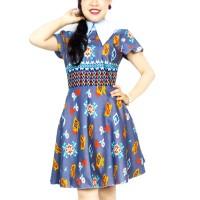 Batik Modern Dress by Batik Migration - HOYA D001 - 0003 DENIM