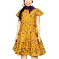 Batik Modern Dress by Batik Migration - HOYA D001 - 0011 YELLOW