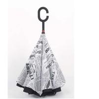 Payung Terbalik / Kazbrella Gagang C reserse Umbrella Motif Koran
