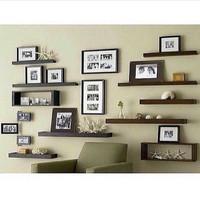 rak dinding kayu solid floating shelf model living room set (10 pcs)